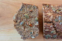 Sliced chrono bread with seeds, close up from above Royalty Free Stock Image