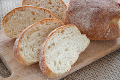 Sliced ciabatta bread on the board Royalty Free Stock Photography