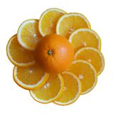 Sliced citrus around an entire orange. On isolated background Royalty Free Stock Photography