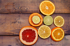 Sliced ??citrus fruit arranged in a pyramid Stock Image