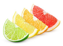 Sliced citrus fruit - lime, lemon, orange and grapefruit. Sliced colorful citrus fruit - lime, lemon, orange and grapefruit isolated on white stock images