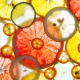 Sliced citrus fruits