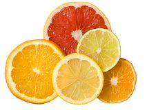 Sliced citrus fruits Stock Photo