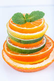Sliced citrus: oranges, mandarines, lemons, limes, sweetie, grapefruits, witch's broom close-up macro Royalty Free Stock Photo