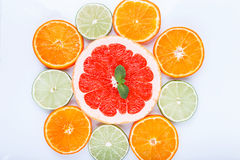 Sliced citrus: oranges, mandarines, lemons, limes, sweetie, grapefruits, witch's broom close-up macro Stock Images