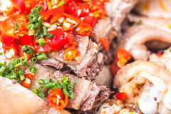 Sliced cold chicken with chili sauce Royalty Free Stock Photos