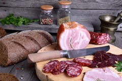 Sliced cold meats Royalty Free Stock Photos