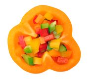Sliced colorful bell peppers Royalty Free Stock Images