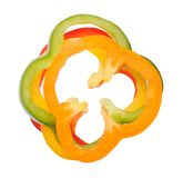 Sliced of colorful bell peppers Stock Photo