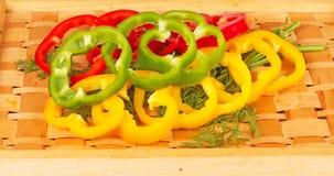 Sliced colorful paprika Stock Photos