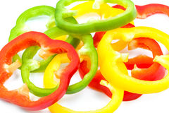 Sliced colorful peppers Royalty Free Stock Photos
