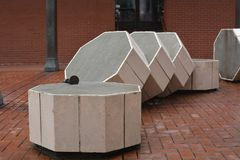 Sliced Column in Pioneer Courthouse Square, Portland, Oregon. This is a sliced column in Portland, Oregon`s Courthouse Square for seating Royalty Free Stock Images