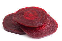 Sliced cooked beetroot isolated on white. Royalty Free Stock Images