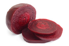 Sliced cooked beetroot  on white. Royalty Free Stock Images
