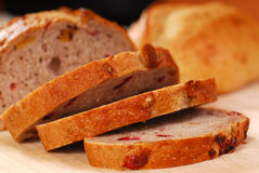 Sliced cranberry and walnut bread Stock Image