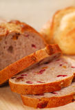 Sliced cranberry and walnut bread Stock Photography