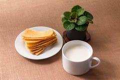 Sliced crispy bread in white ceramic dish. Stock Photography
