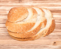 Sliced crusty country style round organic french bread Stock Image