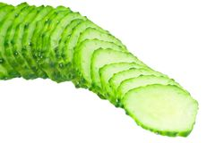 Sliced cucumber. On white background Royalty Free Stock Image
