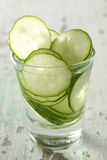 Sliced cucumber. In a glass, preparing for cooking. fresh look Royalty Free Stock Photo