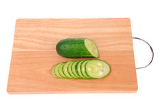 Sliced cucumber on the cutting board Royalty Free Stock Photo