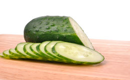 Sliced cucumber on the cutting board Royalty Free Stock Image