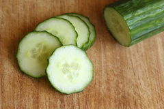 Sliced Cucumber on Cutting Board Royalty Free Stock Photo