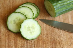 Sliced Cucumber on Cutting Board Stock Photography