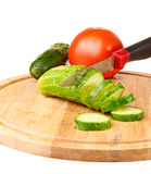Sliced cucumber on a cutting board Stock Photos