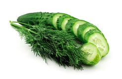 Sliced cucumber and dill Royalty Free Stock Photo