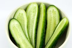 Sliced cucumber in the dish Stock Photo