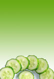 Sliced cucumber on green background Royalty Free Stock Photos