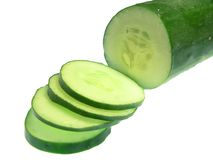 Sliced Cucumber, isolated on white Stock Photos