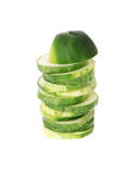 Sliced cucumber isolated on white. Background Royalty Free Stock Images