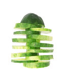 Sliced cucumber isolated on white Stock Photos