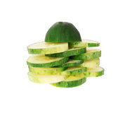 Sliced cucumber isolated on white Stock Photo