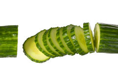 Sliced ​​Cucumber isolated on white Stock Images