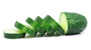 Sliced cucumber isolated on white. Background Royalty Free Stock Photography