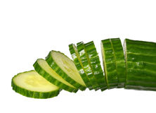Sliced ​​Cucumber isolated on white Stock Photos