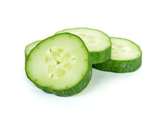 Sliced Cucumber isolated on the white background Stock Images