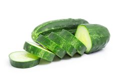 Sliced cucumber isolated on white. Background Stock Images