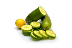 Sliced Cucumber and lemon isolated on white background Royalty Free Stock Photo