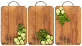 Sliced cucumber on an old cutting board. Abstract background, em Stock Photo