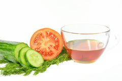 Sliced cucumber into slices next half tomato dill and sunflower oil cup Stock Photo