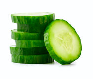Sliced Cucumber in Stack. Isolated on white Stock Photos
