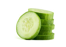 Sliced Cucumber in Stack isolated on white. Stock Photo