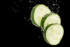Sliced cucumber under water Stock Image