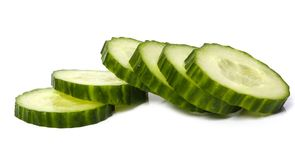 Sliced cucumber. On a white background Royalty Free Stock Photos