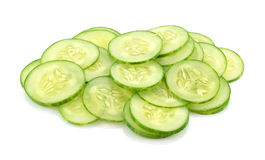 Sliced cucumber  on white background Stock Photos