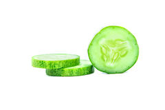 Sliced Cucumber on white background Royalty Free Stock Images